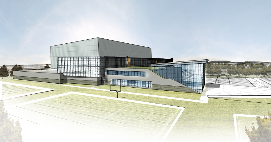 A architectural rendering shows a new proposed Minnesota Vikings headquarters and practice facility to be built on 195 acres the team has purchased in Eagan. On March 16, 2015 team submitted detailed plans for the site, which could also include mixed-use development, for the city to review. The new facilities could open by 2018, according to the team's plans. Image courtesy of the Minnesota Vikings.